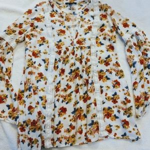 Forever 21 Floral Top Peasant Blouse